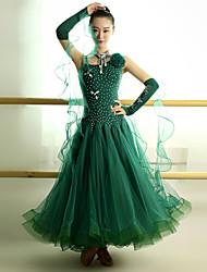 Performance Dresses Women's Performance Tulle Lycra Crystals/Rhinestones Flower(s) 4 Pieces Sleeveless Natural Dress Neckwear Bracelets