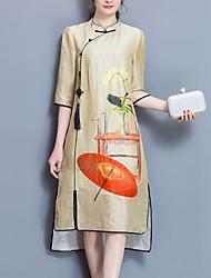 Feminino Solto Vestido, Para Noite Tamanhos Grandes Vintage Estampado Colarinho Chinês Médio Meia Manga Amarelo Poliéster Primavera Verão