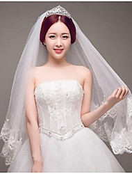 Wedding Veil One-tier Blusher Veils / Cathedral Veils Cut Edge ivory Tulle ivory