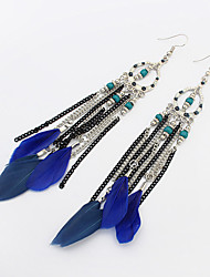 Drop Earrings Alloy Feather Simple Style Black Red Blue Rainbow Khaki Jewelry Wedding Party 1 pair