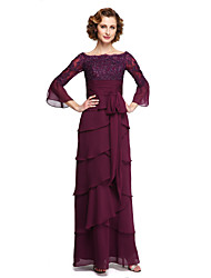 2017 lanting bride® une ligne mère de la robe de mariée - élégante cheville longueur moitié manches en mousseline de soie dentelle avec appliques
