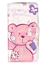 For HUAWEI P9 P8 Lite 5X 5C Y5II Y6II Case Cover Pudding Bear Pattern Painting Card Stent PU Leather Phone Case