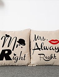 2pcs Simple Modern  MR. MRS. Pillowcase Home Decor Pillow Cover