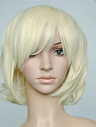 Bleach Blonde Wig Short Curly Wavy Synthetic Fiber Wig With Bangs Cosplay Party Hairstyle With Wig Cap