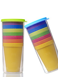 Classic Plastic Drinkware, 200ml 7 in 1 BPA Free Polypropylene Juice Water Rainbow Tumbler