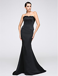 Mermaid / Trumpet Strapless Sweep / Brush Train Jersey Formal Evening Dress with Pleats by TS Couture®