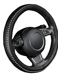 AUTOYOUTH PU leather steering wheel cover black color with white durable sewing thread M size fits 38cm/15 diameter
