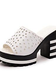 Damen-Slippers & Flip-Flops-Lässig-PU-Blockabsatz-Komfort-Schwarz Weiß