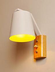 personnalité créative commutateur de lampe de lit de fer en bois chaud avec étude de couloir nordique