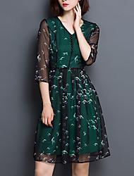 Trapèze Robe Femme Sortie Grandes Tailles Sophistiqué,Imprimé Col en V Au dessus du genou Manches ¾ Vert Polyester Printemps EtéTaille