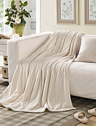 Knitted Ivory,Embossed Solid 100% Polyester Blankets 150*200