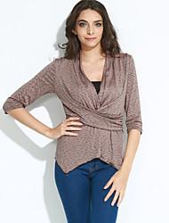 Damen Solide Einfach / Street Schick Ausgehen / Lässig/Alltäglich T-shirt,V-Ausschnitt Alle Saisons Langarm Braun Baumwolle / Kunstseide