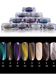 1 PC Nail Art Mmagnetic The Chameleon Iridescence The Cat's Eye Powder Import Laser He Magic Mirror Powder 2g  Bottled  10 Color Optional