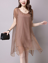 Women's Asymmetrical Casual/Daily Street chic Loose Chiffon Dress Solid Mesh Asymmetrical False Two Short Sleeve Modal Black /Brown Summer Mid Rise
