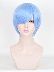 Cosplay Sky Blue Short Straight Wig Japanese Anime Men Hairstyle Lolita Fashion Heat Resistant Synthetic Daily Wig