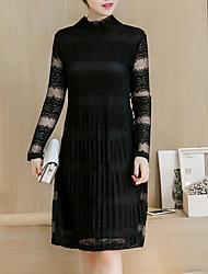 Mujer Recto Vestido Noche Casual/Diario Tallas Grandes Vintage Simple Chic de Calle,Un Color Cuello Alto Sobre la rodilla Manga Larga