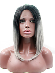 Heat Resistant Synthetic Lace Front Bob Wigs Straight Hair Two Tone Ombre T1B/Grey Color Synthetic Fiber Hair Wigs