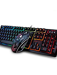 Ergonomic Gaming Keyboard Multimedia Keyboard USB Multi Color Backlit Gaming 2400DPI Mouse Set