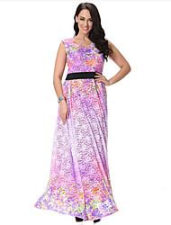 Dentelle Robe Femme Grandes Tailles Bohème,Imprimé Col en V Maxi Sans Manches Violet Spandex Printemps Eté Taille Haute Micro-élastique