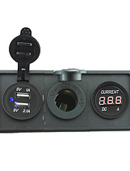 12V/24V Power charger3.1A USB port and current ampmeter gauge with housing holder panel for car boat truck RV(With Current ampmeter)