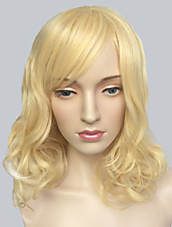 Blonde Capless Wig Wavy Medium Long Hairstyle Fashion Wig For Women
