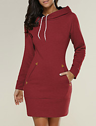 Women's Casual/Daily Holiday Simple Street chic Loose Zipper Sheath DressSolid Hooded Above Knee Long Sleeve Spring FallMid