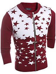 Men's Casual/Daily Simple Regular Cardigan,Color Block Blue Red Round Neck Long Sleeve Cotton Spring Fall Medium Micro-elastic