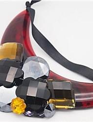Femme Colliers Déclaration Forme de Tube Acrylique Original Acrylique Ajustable Personnalisé Noir & Gris Rouge Bleu Bijoux PourSoirée
