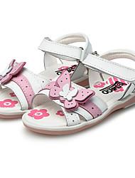 Girl's Sandals Summer Comfort Leather Wedding Outdoor Dress Casual Party & Evening Flat Heel Rhinestone Applique Hook & Loop Pink White