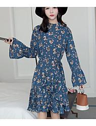 Feminino balanço Vestido, Para Noite Simples Floral Colarinho Chinês Altura dos Joelhos Manga Longa Azul Preto Verde PoliésterPrimavera