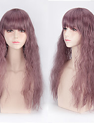 Lolita New Lavender Purple Color Long Water Wave Natural Heat Resistant Dialy Wig with Full Bang Long Length Cosplay Party Hairstyle