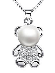 Women's Pendants Animal Shape Bear Pearl Sterling Silver Basic Animal Design Cute Style Jewelry For Daily Casual