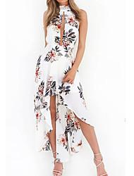 Femme Bohème/Asymétrique/Dos Nu Gaine Robe Décontracté/Quotidien Sexy Mignon,Imprimé Licou Midi Sans Manches Blanc Coton Printemps Eté Taille Normale