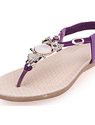 Damen-Sandalen-Outddor Lässig-PU-Flacher Absatz-Komfort Fersenriemen-Schwarz Blau Lila Rot Beige