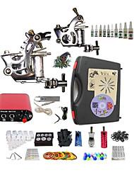 Komplettes Tattoo Kit 2 x Stahl-Tattoomaschine für Umrißlinien und Schattierung 2 Tattoo-Maschinen Mini StromversorgungTinten geliefert