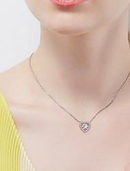 Pendentif de collier Forme de Coeur Argent sterling Zircon Basique Pendant Amour Simple Style Bijoux de Luxe Argent Bijoux PourQuotidien