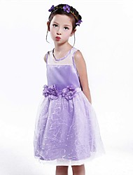 Girl's Cotton Fashion Hollow Out Splicing Sequins Net Yarn Elegant Waist Stereo Flower Net Yarn Sequins Princess Dress