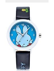 Kid's Couple's Fashion Watch Cute Rabbit Casual Watch Japanese Quartz PU Band Casual Black White Brown Wrist Watch