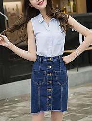 Röcke,A-Linie einfarbig Jeansstoff,Ausgehen Lässig/Alltäglich Niedlich Street Schick Hohe Hüfthöhe Über dem Knie Knopf Baumwolle