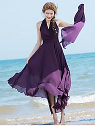 2017 printemps et en été robe sans manches en mousseline de soie été femme mince v-cou robe de plage bohème jupe big swing