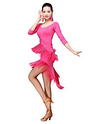 Latin dance clothing adult female dress new Spring Festival two tail tassel skirt