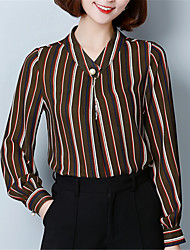 Fashion Wild Spring Elegant Generous StripeRound Neck Long Sleeves Comfortable Breathable Chiffon Shirt Dating Daily Leisure Home MustCoat