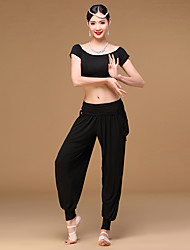 Belly Dance Outfits Women Women's dancewear Girl Training Modal Pleated Pockets 2 Pieces Short Sleeve Dropped Top Pants