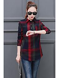 2017 Primavera nova moda coreana xadrez camisa de mangas compridas e camisa longa da camisa mulheres&# 39; s modelos primavera maré da