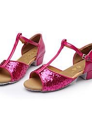 Non Customizable Kids' Dance Shoes Paillette Latin Sandals Low Heel Indoor