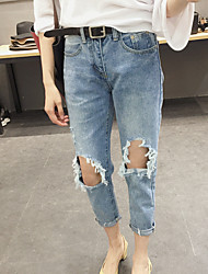 Korean wild hole jeans female Harlan nine new students a good autumn and winter fabrics