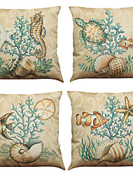 Set of 4 Marine biological pattern  Linen Pillowcase Sofa Home Decor Cushion Cover
