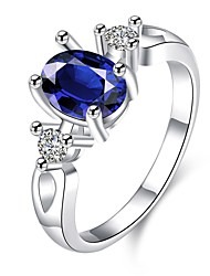Ring Daily Casual Jewelry Zircon Copper Silver Plated Glass Ring 1pc,7 8 Blue