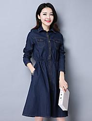 Sign-sleeved denim dress female spring 2017 Slim waist and long sections lapel shirt dress skirt