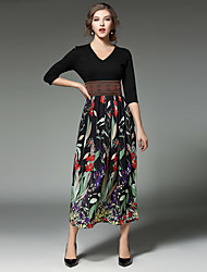 Women's Going out Beach Vintage Street chic A Line Dress,Floral V Neck Midi ¾ Sleeve Cotton Black Spring Fall High Rise Micro-elastic